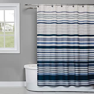 SKL Home by Saturday Knight Ltd. Cubes Stripe Fabric Shower Curtain, Blue