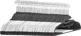 AmazonBasics Lot de 50 cintres en plastique ultra robustes antidérapants avec caoutchouc et barre horizontale Blanc