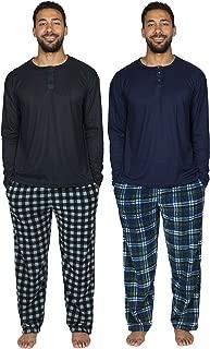 4 Piece: Men's Fleece Pajama Set Long Sleeve Waffle Henley Top and Pajama Pants with Pockets