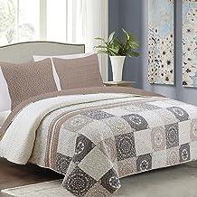 Tavira Pikowana narzuta na łóżko + 2 poszewki na poduszkę (zestaw 3-częściowy), kolor beżowy, szary, ecru (Antea), 180 x 2...