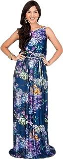 KOH KOH Womens Long Sleeveless Summer Floral Print Casual Sundress Maxi Dress