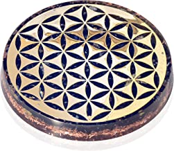 Orgonite Crystal Water Charging Plate with Black Tourmaline Healing Crystals and Flower of Life –Orgone Charging Coaster for Spiritual Cleansing and EMF Protection (90mm)