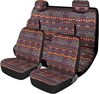 P&J Baja Blanket Car Seat Covers Magic Boho Designs Universal Size Fit for Most Cars SUVs Trucks Vans Woven Fabric Full Set Pack 8pcs Blue Color