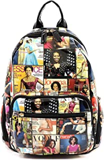 Glossy magazine cover collage fashion backpack Michelle Obama crossbody backpack