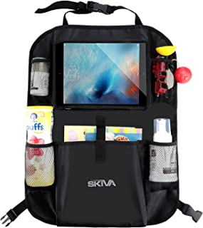Skiva Car Back Seat Organizer Multi-Pocket Travel Storage with Touch Screen iPad Tablet Books Toys Holder and More [Model: AH118]