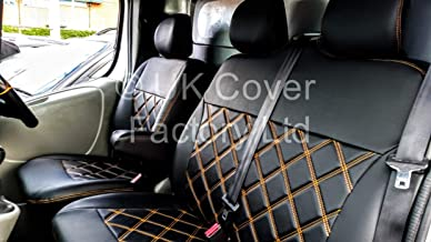 WITH COFFEE TABLE ACCESS ORANGE BENTLEY STITCH UK Cover Factory Made to Measure Van Seat Covers For TRANSIT CUSTOM LIMITED TREND NOT MK8