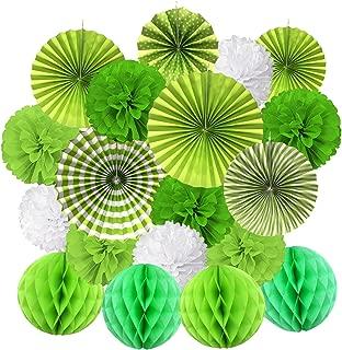 Cocodeko Hanging Paper Fan Set, Tissue Paper Pom Poms Flower Fan and Honeycomb Balls for Birthday Baby Shower Wedding Festival Decorations - Green