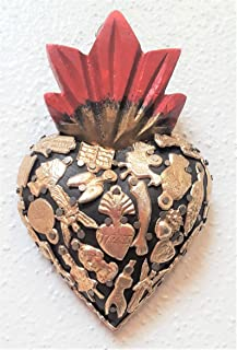 Fandango Wood Milagros Charms Heart Mexican Folk Art - Med
