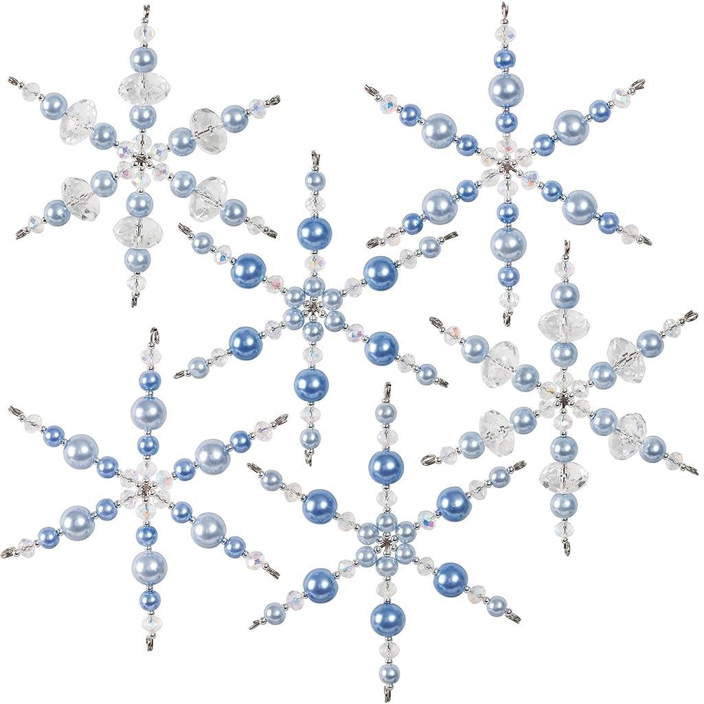 Solid Oak Crystal/Blue Snowflakes Ornament Kit,
