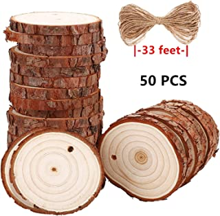 Liuba 50 Pcs 2.8-3.2 inch Wood Slices for Centerpieces - 33 Feet Natural Jute Twine for Hole to Hang, Rustic Decor Wooden Rounds, Log Discs for Charger Circles, Wood Plates, Wood Cake Stand