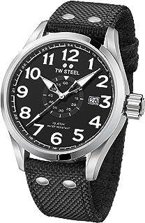 TW Steel Men's Volante Stainless Steel Japanese-Quartz Watch with Nylon Strap, Black, 22 (Model: VS1)