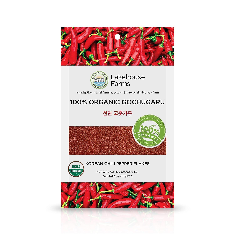 Lakehouse Farms 100% Organic Korean Chili Pepper Flakes/Powder (Gochugaru) - The only US Grown and US Organic Certified Korean Pepper Flakes