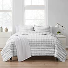 Quilt Sets Prewashed Checkered Plaid Embroidered Vintage Soft and Luxurious Bedding with Pillow Shams