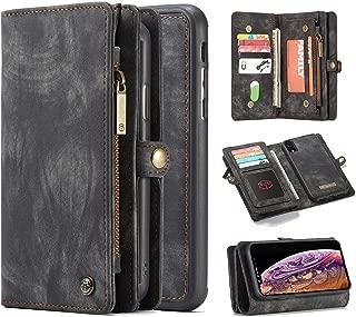 iPhone XR 手机壳,Harsel 11 卡槽【磁扣】可拆卸复古皮革钱包钱包式手机套拉链口袋便携保护套硬质保护套苹果 iPhone XR 黑色