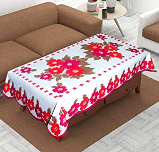 KUBER INDUSTRIES Center Table Cover White Cloth Net for 4 Seater 40 X 60 Inches (Pink Flower Design) Code, Flower Design c...