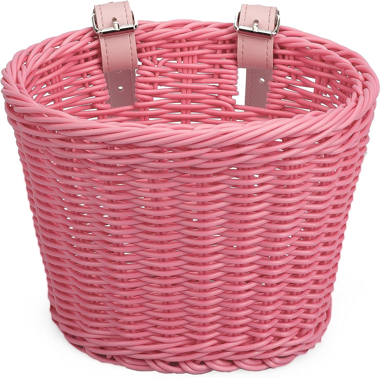 Kids Bike Basket Super beauty product restock quality top! for Girls Handwoven Imitat Front Boys Handlebar half