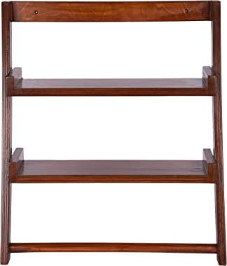 Lycka Birch Wood Wall Mounted Shelves Ladder Shelf Display Racks with Napkin and Towel Holder for Bathroom Bedroom (Brown)