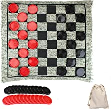 ZCOINS Giant Checkers Game for Kids Family Games Classic Indoor Games Yard Games Checkers and Super Tic Tac Toe Game