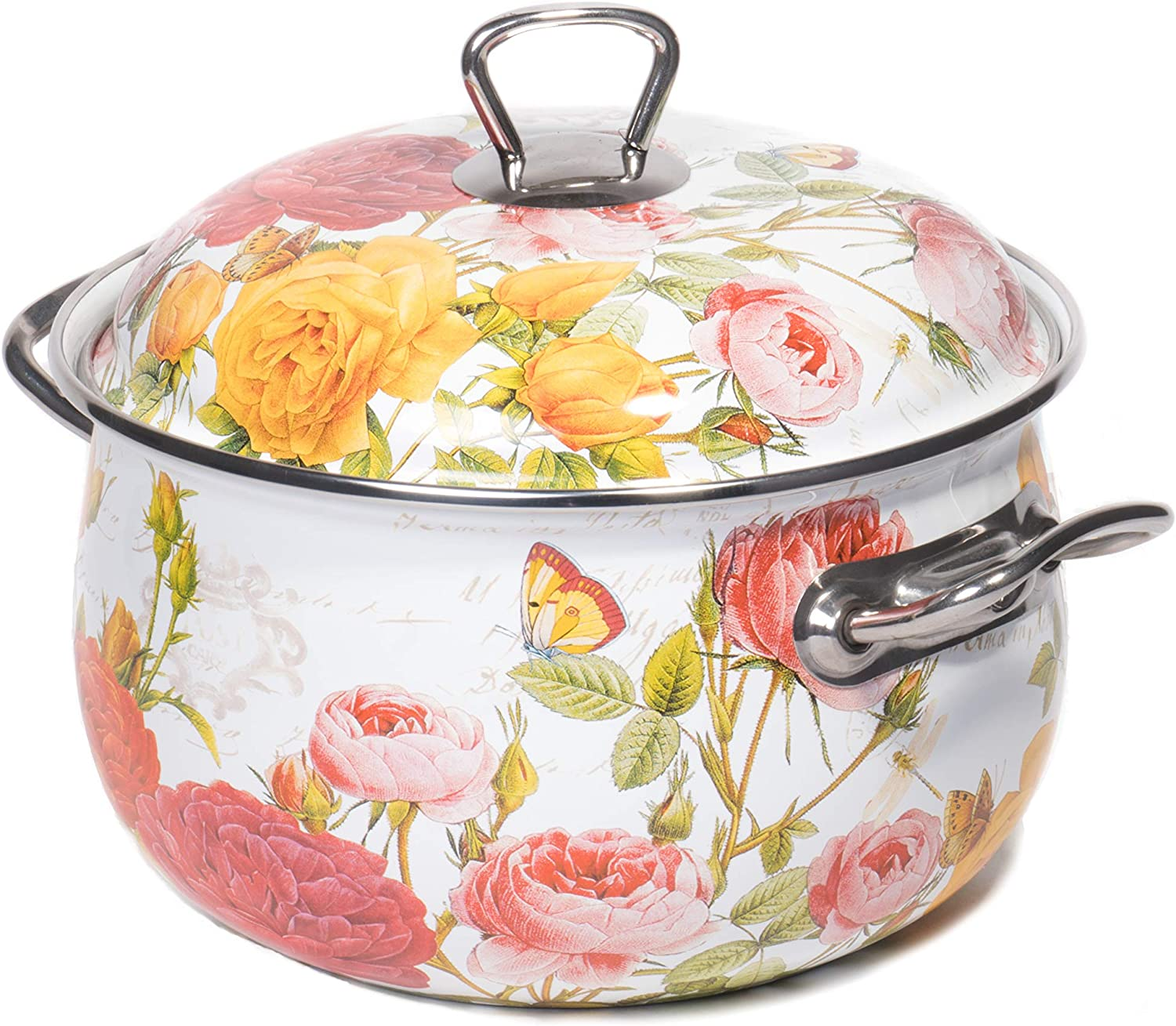 Red Co. Enamel On Steel Round Covered Stockpot, Pasta Stock Stew Soup Casserole Dish Lid, Up to 6.5 Quarts - 24 cm (pinks)