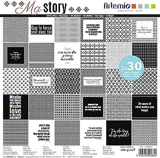 Artemio 11002451 Bloc de 30x2 Feuilles My Story 30x30 cm, Multicolore