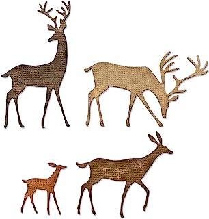 Sizzix 664968 Thinlits Lot de 4 Matrices Darling Tim Holtz découpe pour Scrapbooking, Darline Deer, Taille unique