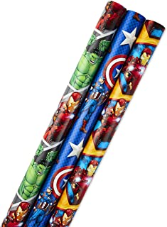 Hallmark Avengers Wrapping Paper Bundle with Cut Lines on Reverse, Captain America, Iron Man, Thor (Pack of 3, 105 sq. ft. ttl.) for Birthdays, Holidays, Fathers Day and More