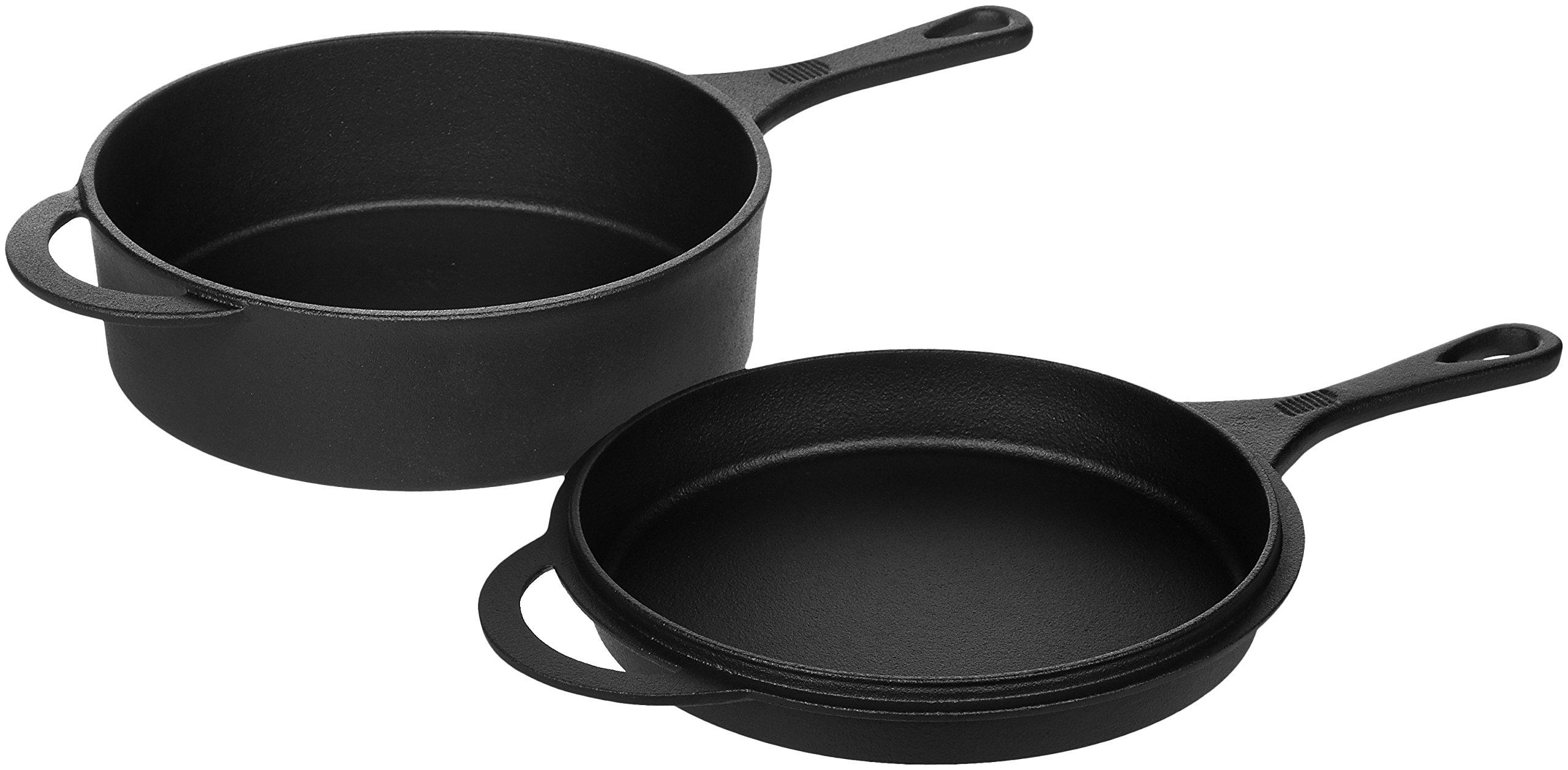 AmazonBasics - Juego de sartén y horno holandés en hierro fundido ...