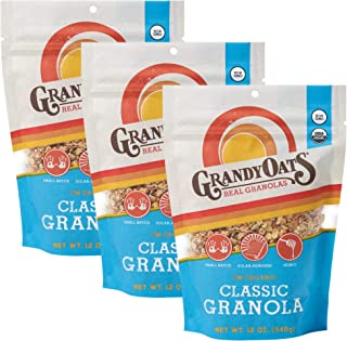 GrandyOats Classic Granola, Certified Organic Granola Cereal, Low Sugar - Made with Oats, Pumpkin Seeds, Walnuts and Cashe...