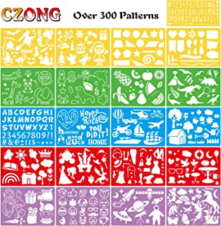CZONG 21 Pieces Drawing Stencils Set for Kids Over 300 Different Patterns To Draw Imaginative Children's Stories, Bullet Journal Stencil for Notebook, Diary, DIY Drawing Template with 1 Storage Bag