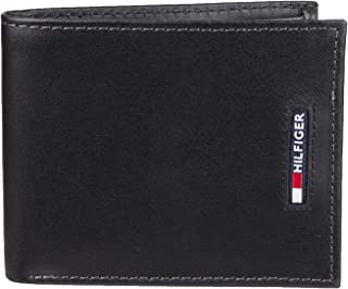 b8a961aa919 Tommy Hilfiger Men's RFID Blocking Leather Slimfold Wallet, black One Size