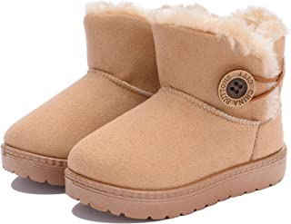 Girls Boys Warm Cute Button Bailey Snow Boots Comfortable Casual Winter Flat Shoes (Toddler/Little Kid)