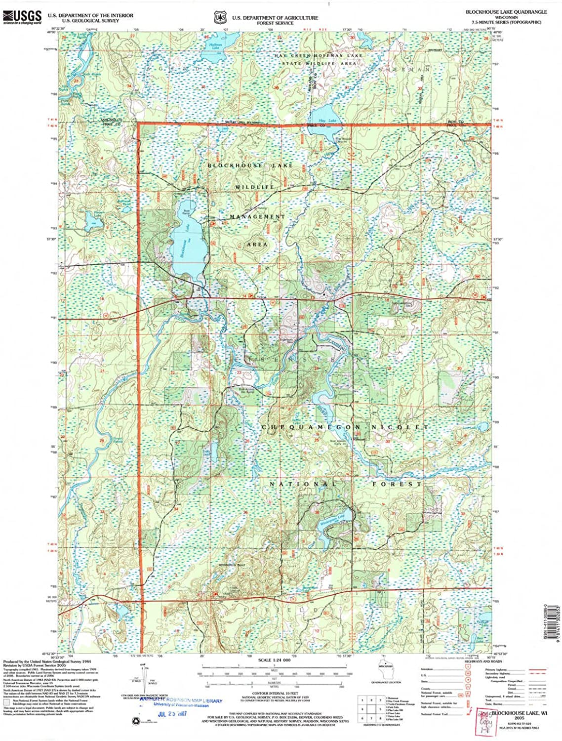 Blockhouse Lake WI topo map, 1 24000 Scale, 7.5 X 7.5 Minute, Historical, 2005, Updated 2006, 28.5 x 22.1 in