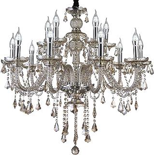 Junhong Lighting LED E14 LED 3 Brightness Cognac Colour Crystal Candle Chandelier Ceiling Lights Fixture Lamp Chandelier P...