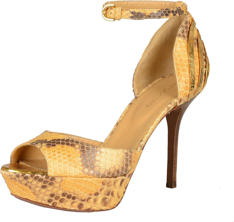 Sergio Rossi Kvinnlig Python Skin hög hög hög klack Platform Ankle Strap Pumpar skor US 7 IT 37  topp varumärke