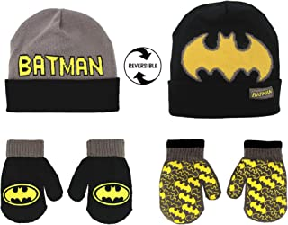 Batman Reversible Hat and 2 Pair Mitten Cold Weather Set, Toddler Boys, Age 2-4