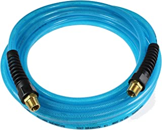 Coilhose Pneumatics PFE61006T Flexeel Reinforced Polyurethane Air Hose, 3/8-Inch ID, 100-Foot Length with (2) 3/8-Inch MPT Reusable Strain Relief Fittings, Transparent Blue