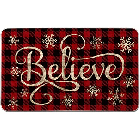 Artoid Mode Buffalo Plaid Snowflake Believe Decorative Doormat Seasonal Winter Christmas Holiday Low Profile Floor Mat Switch Mat For Indoor Outdoor 17 X 29 Inch Kitchen Dining