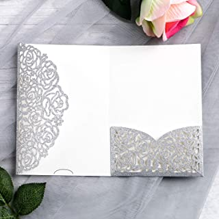 YIMIL 20 Pcs 5.12 x 7.21 inch Tri-fold Laser Cut Wedding Invitation Pocket for Wedding Quinceanera Bridal Shower Baby Shower Party Invite (Silver Glitter)