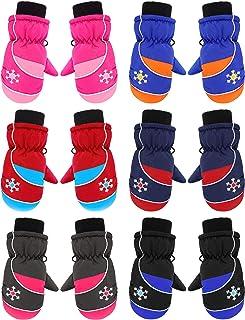 6 Pairs Kids Winter Snow Mittens Unisex Ski Mittens Winter Warm Mittens for Children (Snowflake Style, 5-9 Years)