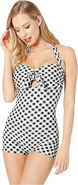 Retro Style One-Piece Garbo Halter Swimsuit