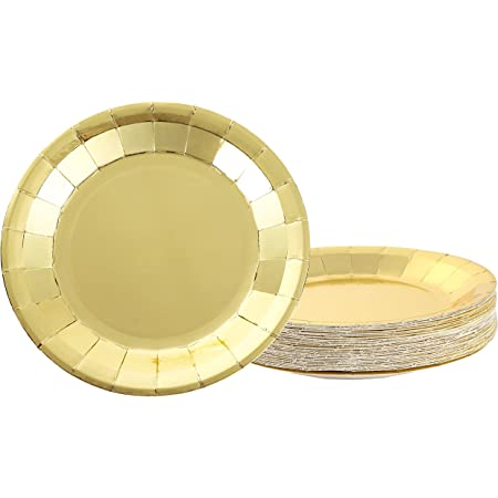 X 20 Strong Disposable Gold Square Party Supply Plastic Plates Catering 23 CM