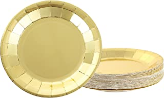 Disposable Plates - 48-Pack Paper Plates Party Supplies for Appetizer, Lunch, Dinner, and Dessert, Kids Birthday Party Favors, Gold Foil, 9 x 9 Inches