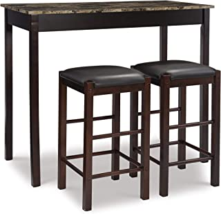 "Linon Brown 3-Piece Table Faux Marble Tavern Set, 42"" w x 22.25"" d x 36"" h"