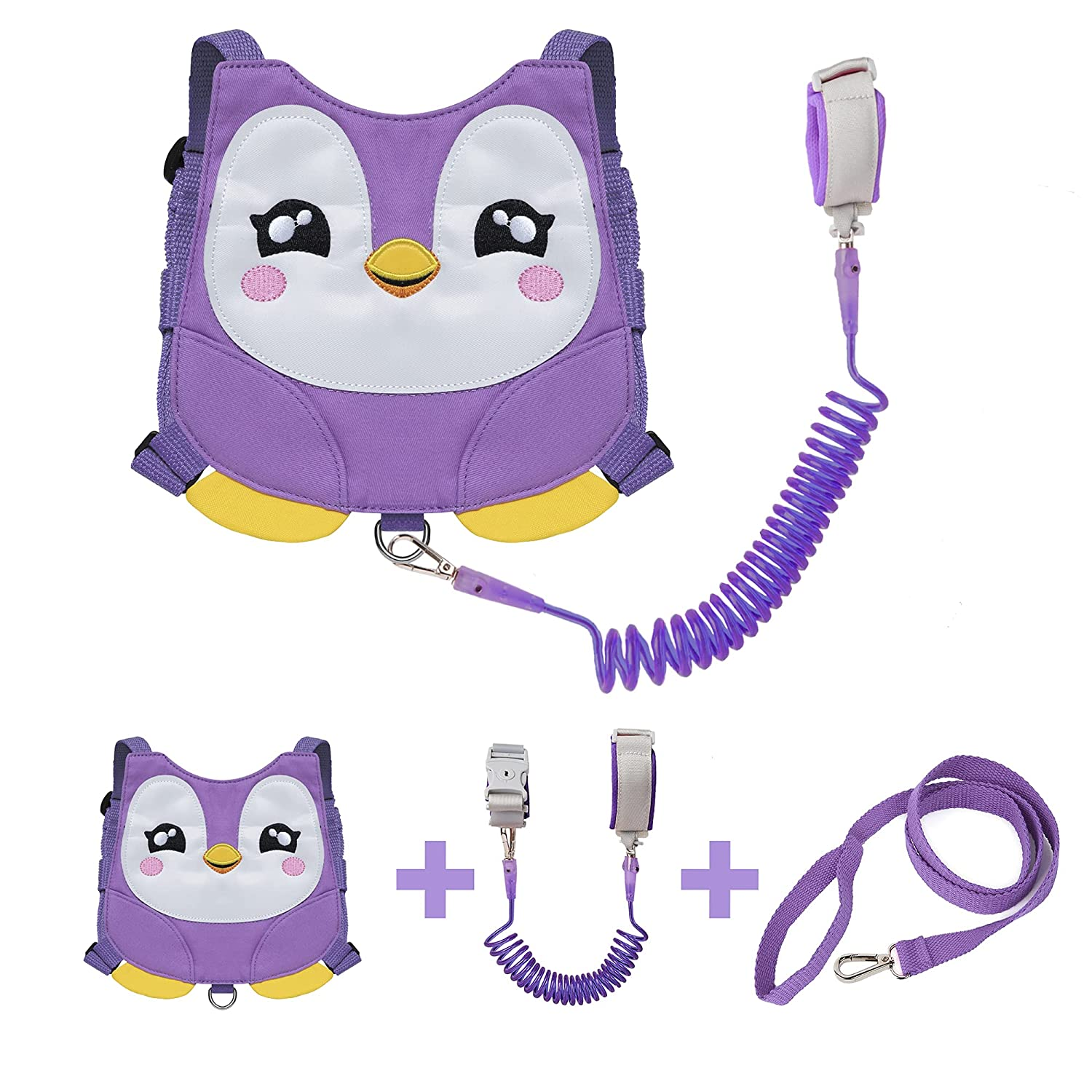 EPLAZA Penguin-Like Toddler Harnesses with Leashes Anti Lost Wrist Link Wristband for 1.5 to 3 Years Kids Girls Boys Safety (Penguin Purple)