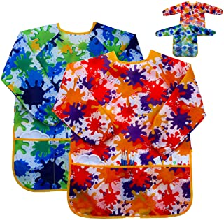Kids Art Smock Painting Apron - (Pack of 2) Long Sleeve and 2 Pockets for Baking, Eating, Arts & Crafts for Children Ages ...