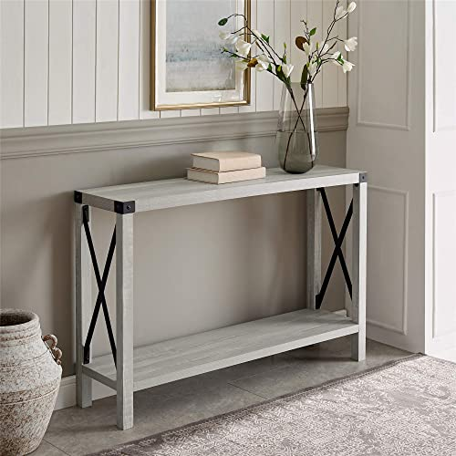 Walker Edison Furniture Company Barnwood Farmhouse Wood Rectangle Accent Entryway Table Sideboard Living Room Storage...