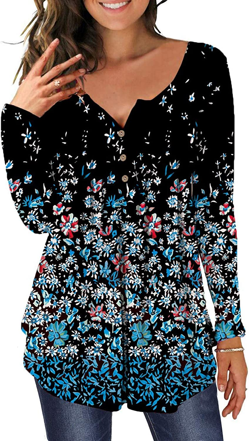 FABIURT Women Long Sleeve Tops, Womens Comfy Floral Printed V Neck Long Sleeve Tee Shirts Casual Flowy Pullover Blouses