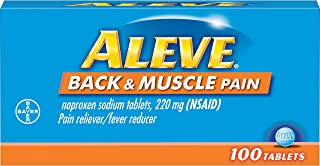 Aleve Back & Muscle Pain Tablets, Naproxen Sodium 220 mg (NSAID), Pain Reliever/Fever Reducer, Targeted Back and Muscle Pain Relief, 100 Count