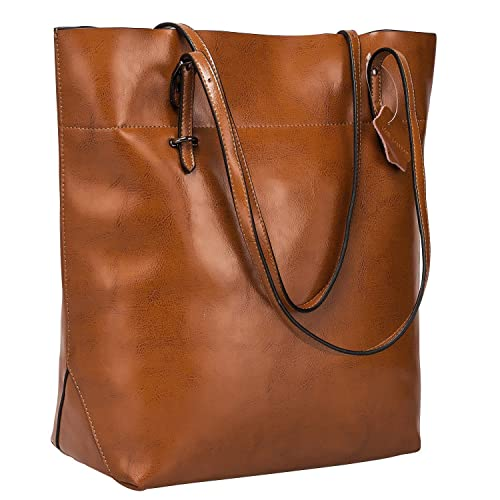 e6543814e3 S-ZONE Vintage Genuine Leather Tote Shoulder Bag Handbag Big Large Capacity