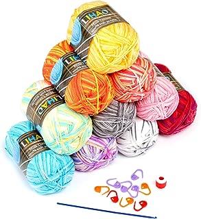LIHAO 10 x Lanas para Tejer Ovillos de Lana Multicolor Estambre Acrílico Algodón